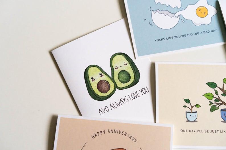 Avo Always Love You: Anniversary Punny Greeting Card Flatlay