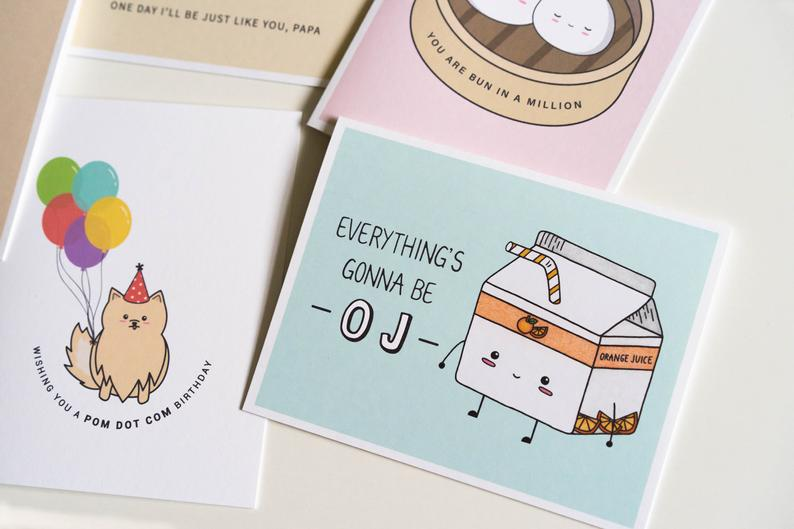 Everything's Gonna Be OJ: Encouragement / Compassion Punny Greeting Card Flatlay
