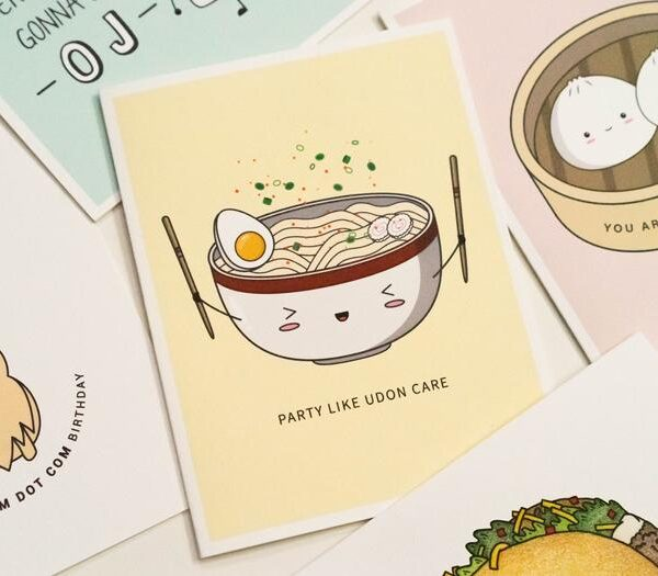Party Like Udon Care: Asian Food Pun Birthday Greeting Card Flatlay