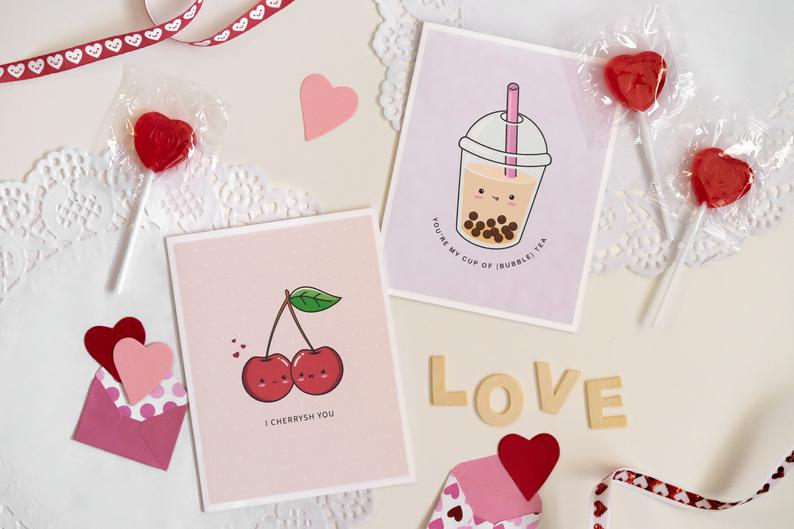 Wuith Love B: Valentine's Day Punny Greeting Cards Flatlay