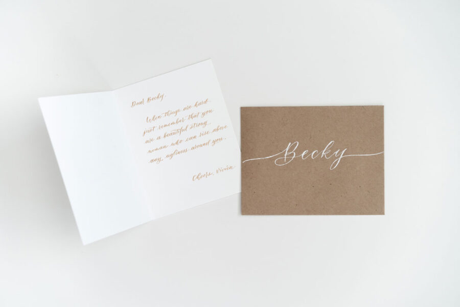 You Dew You, Honey: Customized Greeting Card With Gold Handwritten Inside Message and Envelope Name
