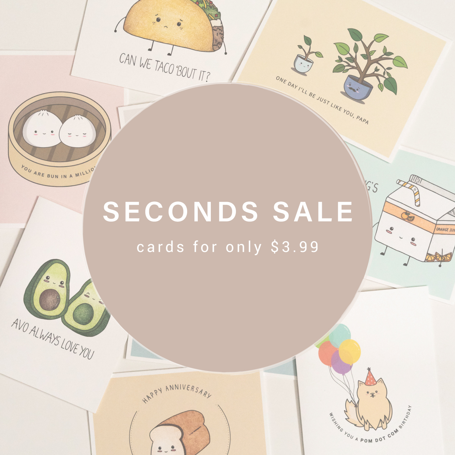 Seconds Sale: Cute and Playful Greeting Cards For Only $3.99 CAD
