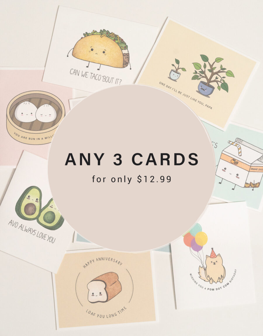 Choose 3 Greeting Cards For Only $12.99 (CAD)