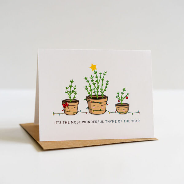 Wonderful Thyme Of The Year: Punny Christmas Greeting Card
