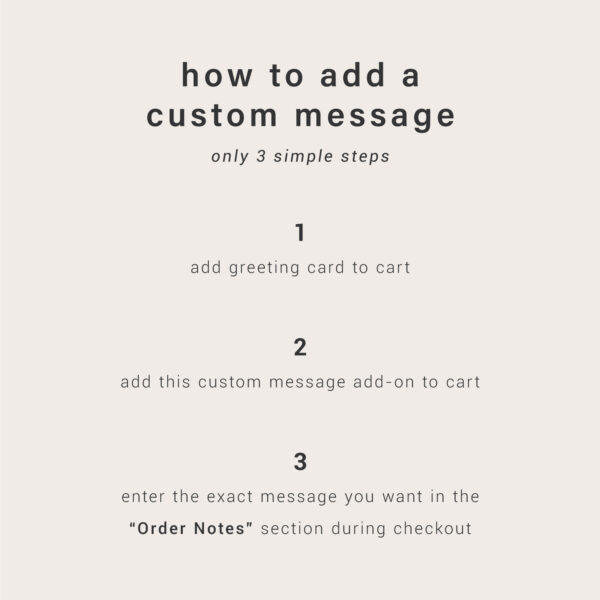 Custom Message Add-On: Instructions To Add Custom Message To Greeting Card