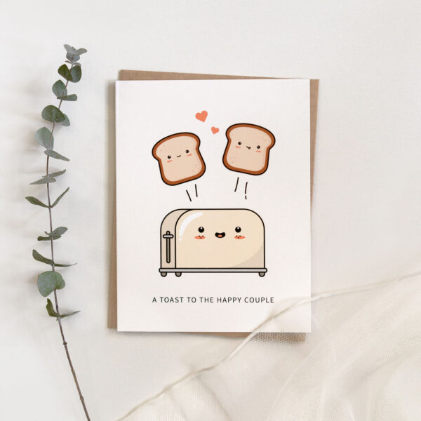 A Toast To The Happy Couple: Wedding / Engagement Punny Greeting Card Flatlay